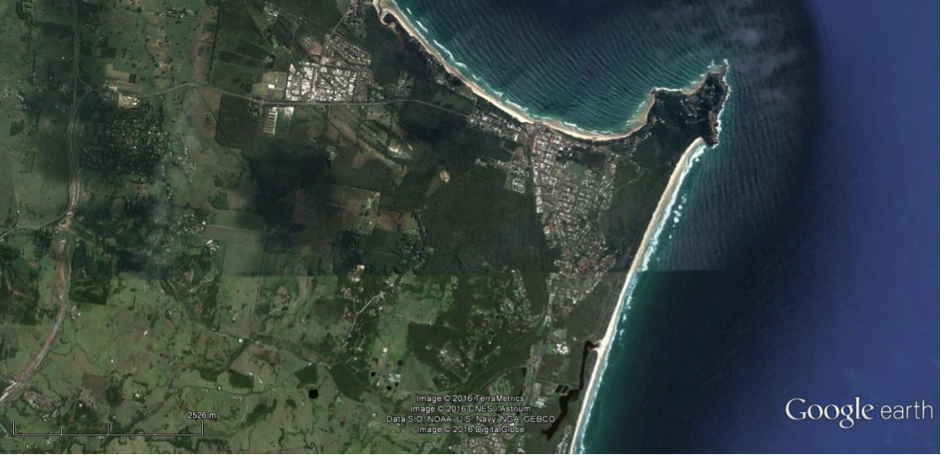 2016 Image of Byron Bay shows Wategos, Pacific Vista, Sandhills Estates, the Industrial Precinct and Sunrise Beach plus part of Suffolk Park all of which have been developed in the 50 years since the 1966 image above. Although Tallow Creek has been straightened by the sand mining much of the industrial footprint has been removed or repaired and is no longer visible. Vegetation has recovered and National Parks and Reserves protect significant areas previously impacted. Google Image.