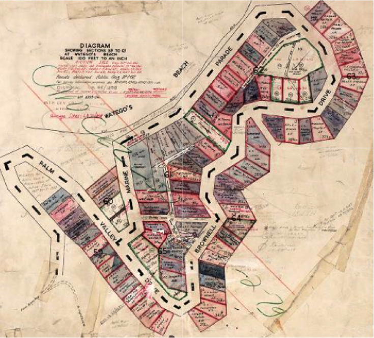 Layout of Wategos subdivision 1962. Names of bidders added. NSW Govt Map.